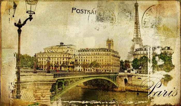 RECUERDOS DE PARÍS FONDO DE LA VENDIMIA - Fotomural Tapiz Recuerdo de París