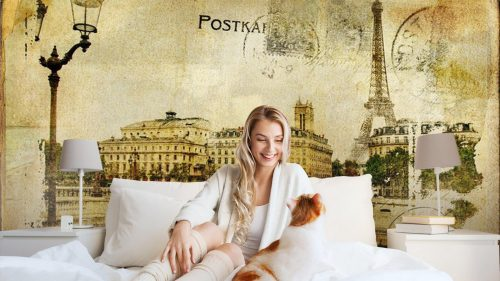 RECUERDOS DE PARÍS FONDO DE LA VENDIMIA1 500x281 - Fotomural Tapiz Recuerdo de París