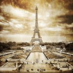Eiffel tower from Trocadero monochrome vintage