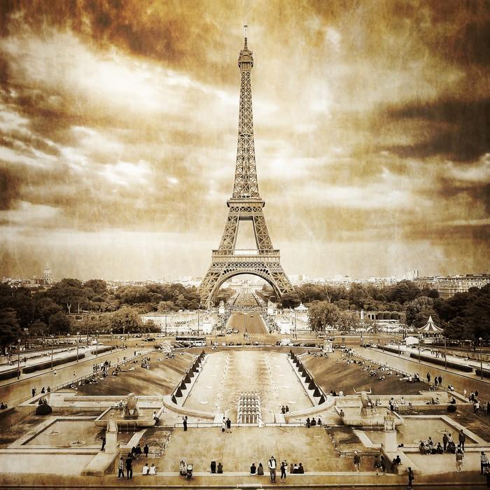 TORRE EIFFEL DESDE TROCADERO MONOCROMO VENDIMIA - Fotomural Tapiz Vista Torre Eiffel Color Monocromo