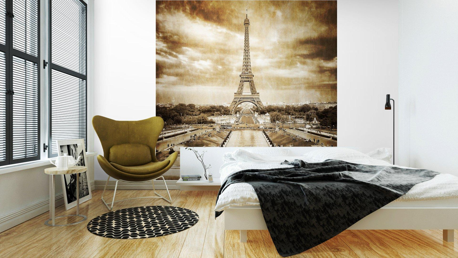 TORRE EIFFEL DESDE TROCADERO MONOCROMO VENDIMIA2 - Fotomural Tapiz Vista Torre Eiffel Color Monocromo