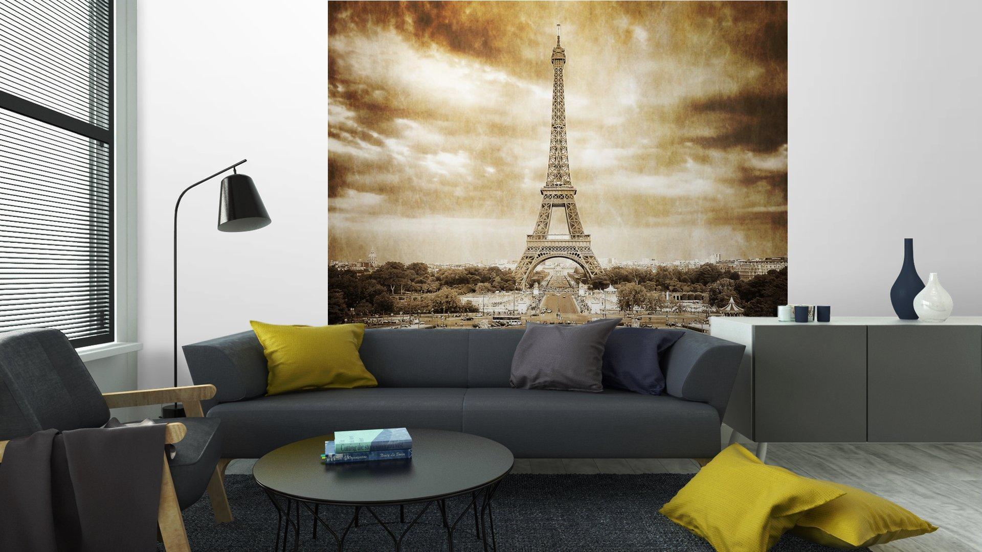 TORRE EIFFEL DESDE TROCADERO MONOCROMO VENDIMIA6 - Fotomural Tapiz Vista Torre Eiffel Color Monocromo