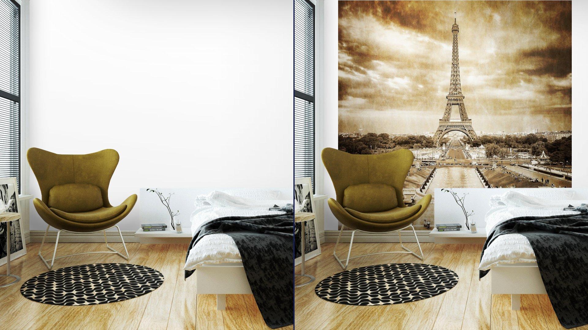 TORRE EIFFEL DESDE TROCADERO MONOCROMO VENDIMIA7 - Fotomural Tapiz Vista Torre Eiffel Color Monocromo