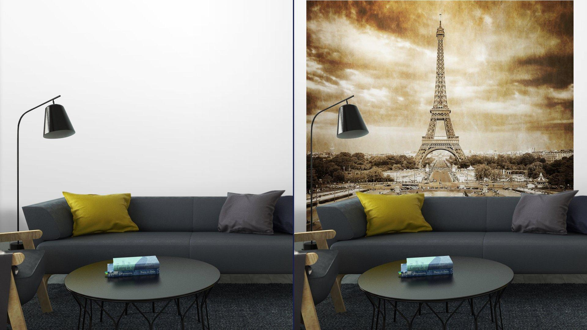 TORRE EIFFEL DESDE TROCADERO MONOCROMO VENDIMIA8 - Fotomural Tapiz Vista Torre Eiffel Color Monocromo