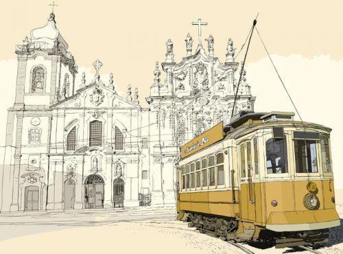 TRANVÍA EN OPORTO 500x370 - Fotomural Tapiz Tranavía en Oporto