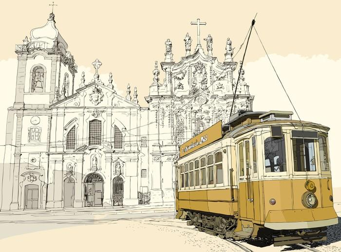 TRANVÍA EN OPORTO - Fotomural Tapiz Tranavía en Oporto