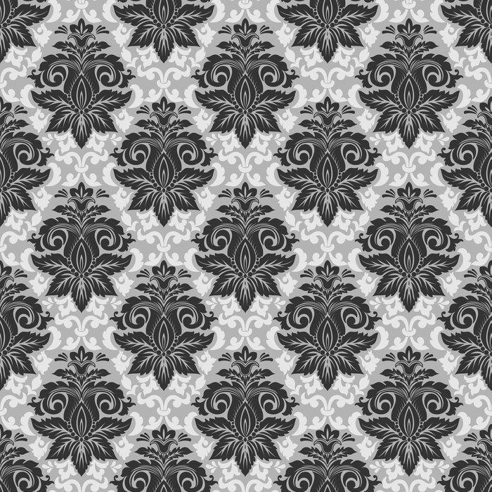 VECTOR DAMASCO SIN PATRÓN ELEMENTO 2 - Fotomural Tapiz Damasco Clásico Floral Blanco y Negro
