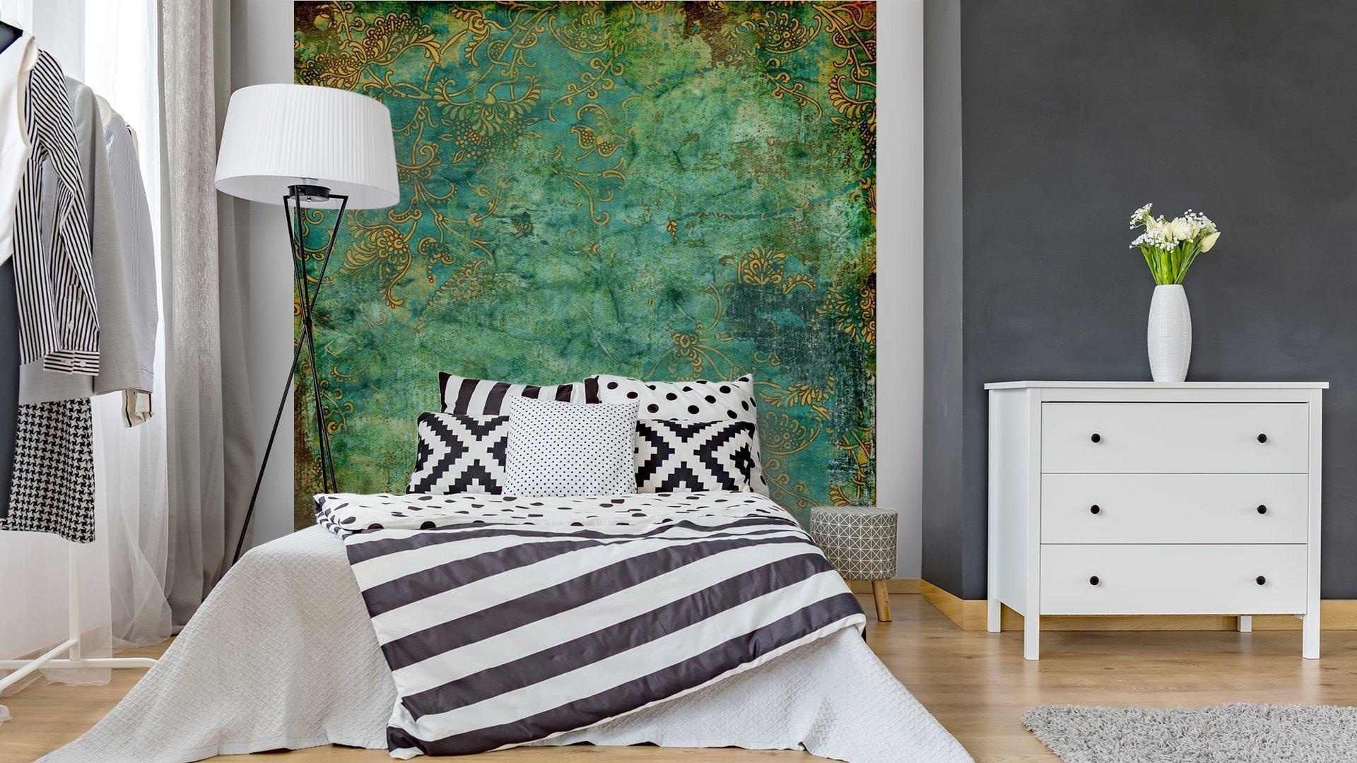 VERDE TEXTURA VENDIMIA OXIDADA2 - Fotomural Tapiz Verde con Textura Oxidada