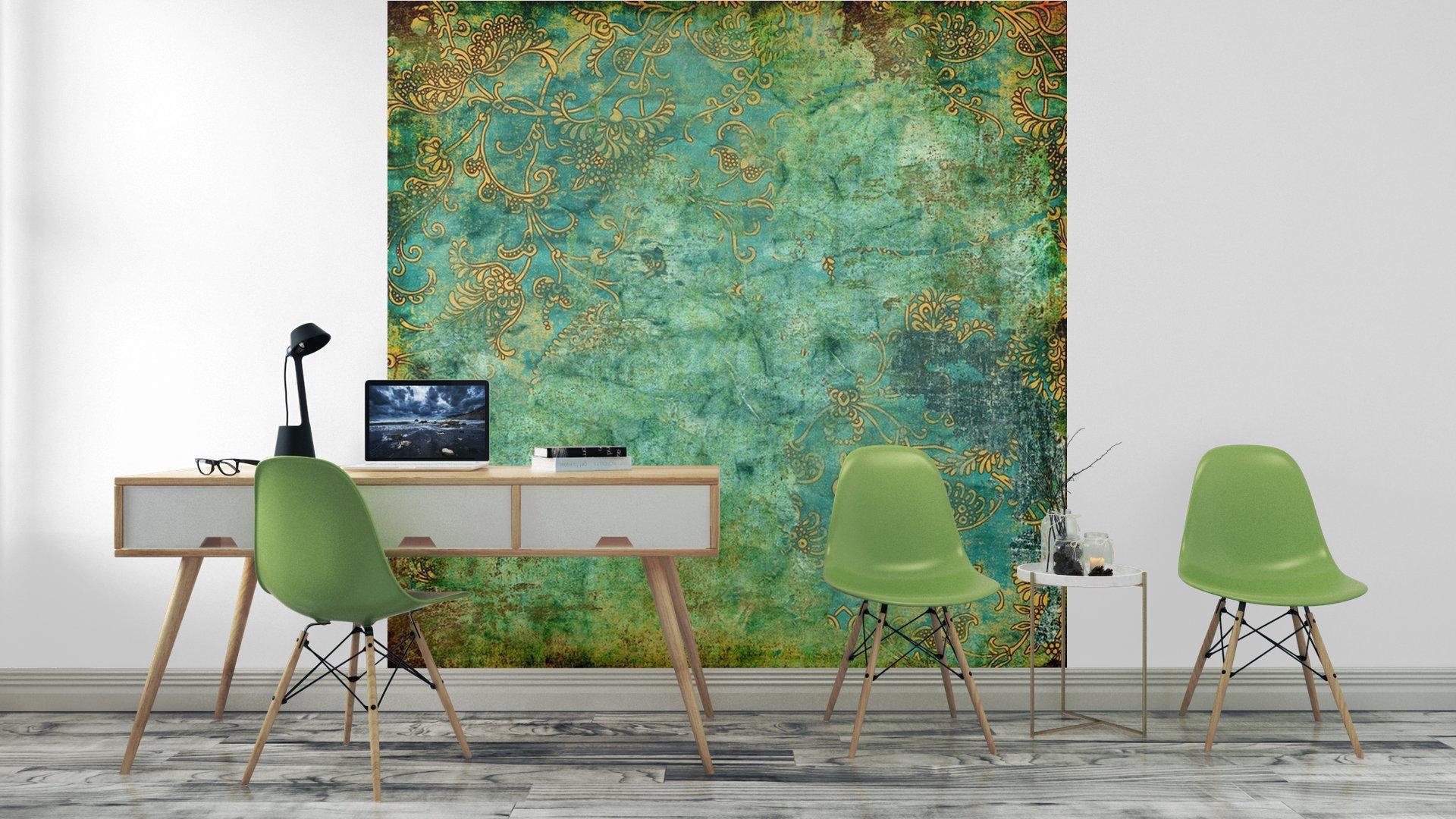 VERDE TEXTURA VENDIMIA OXIDADA3 - Fotomural Tapiz Verde con Textura Oxidada