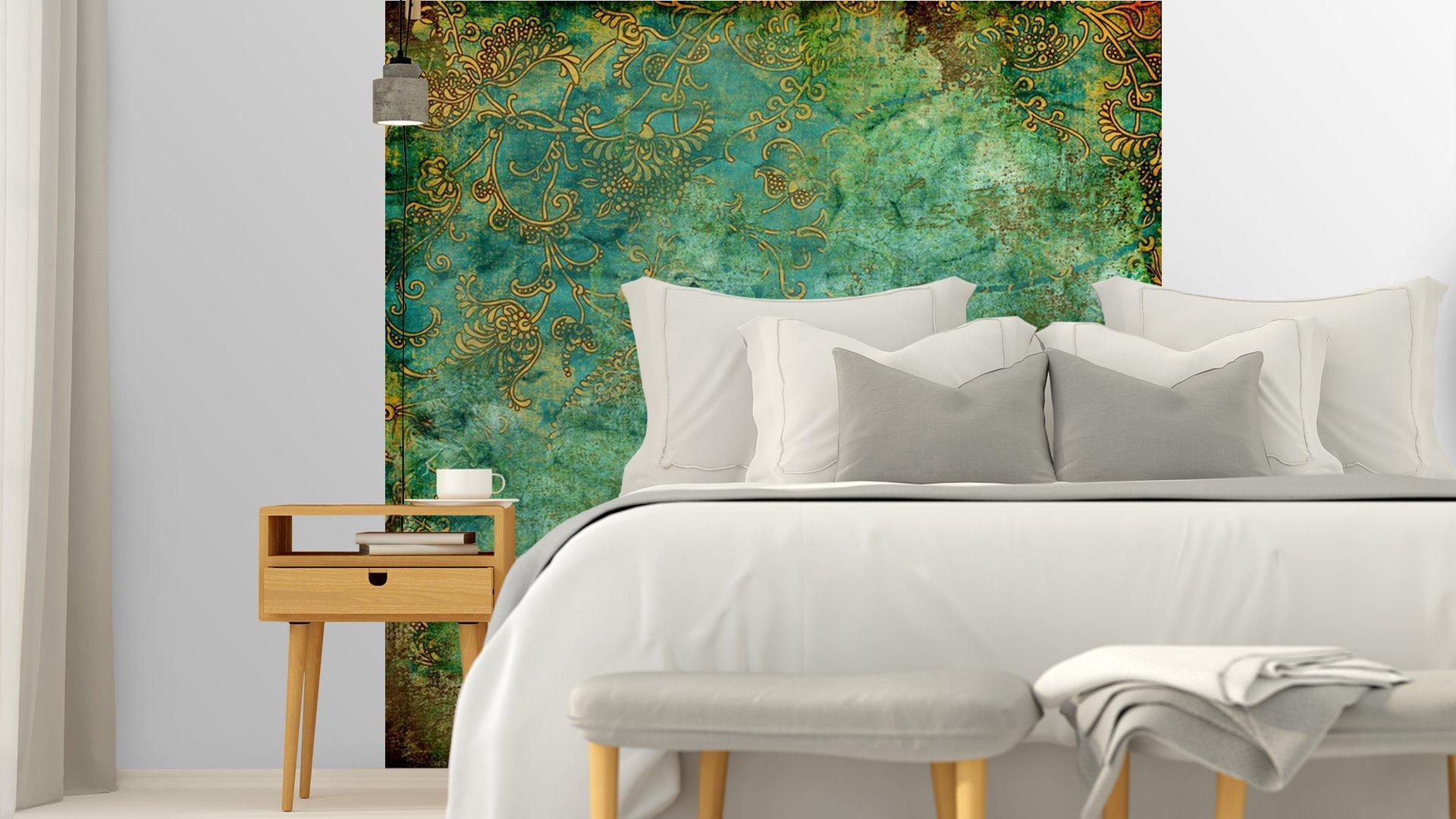 VERDE TEXTURA VENDIMIA OXIDADA4 - Fotomural Tapiz Verde con Textura Oxidada