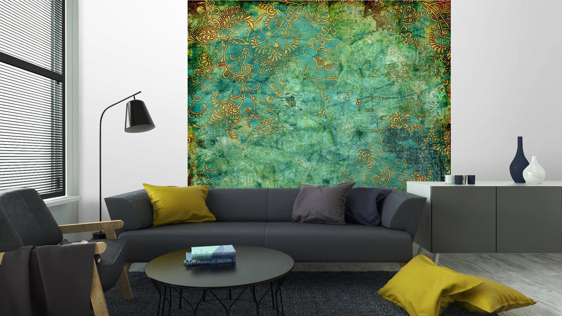 VERDE TEXTURA VENDIMIA OXIDADA5 - Fotomural Tapiz Verde con Textura Oxidada
