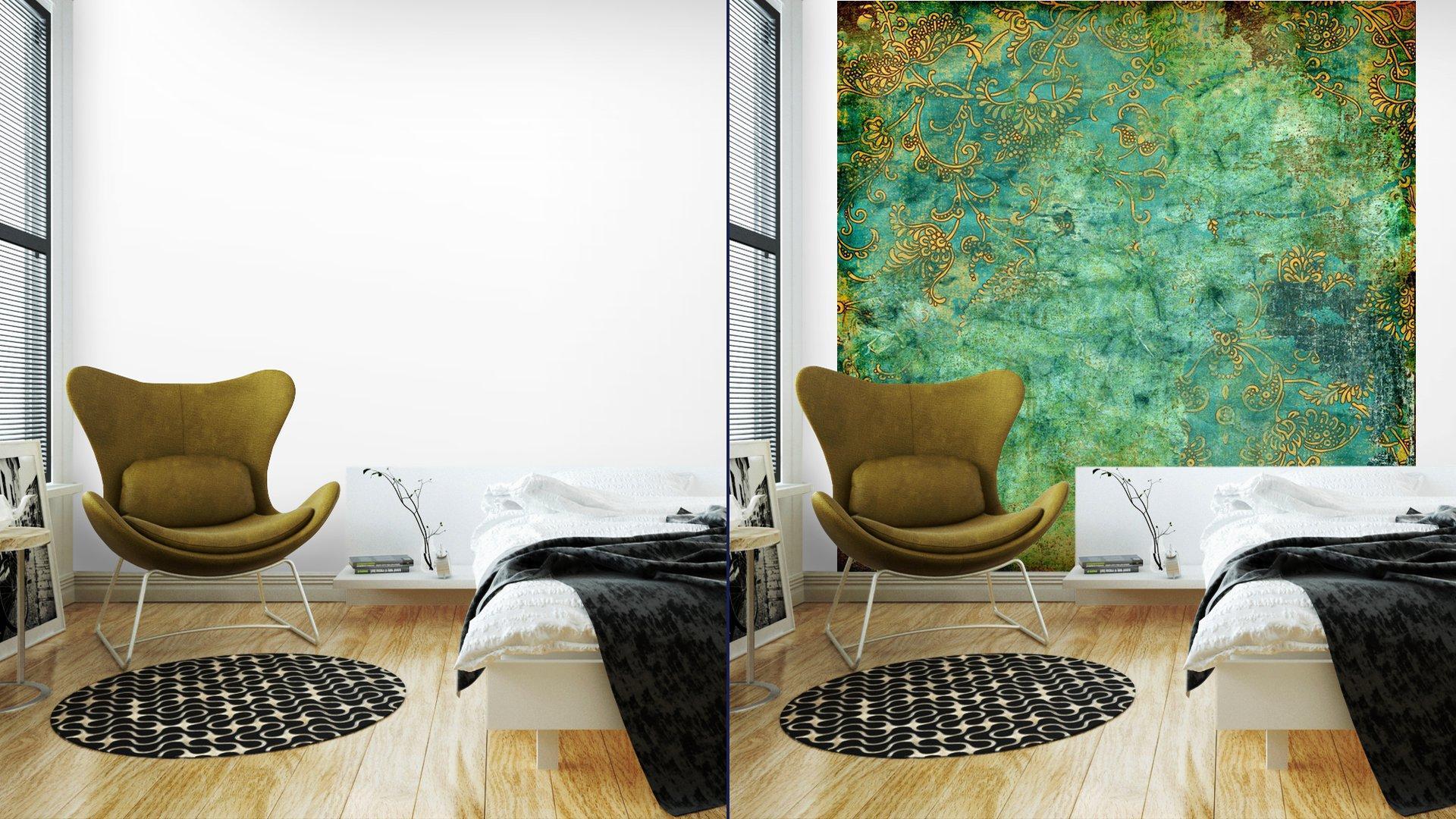 VERDE TEXTURA VENDIMIA OXIDADA6 - Fotomural Tapiz Verde con Textura Oxidada
