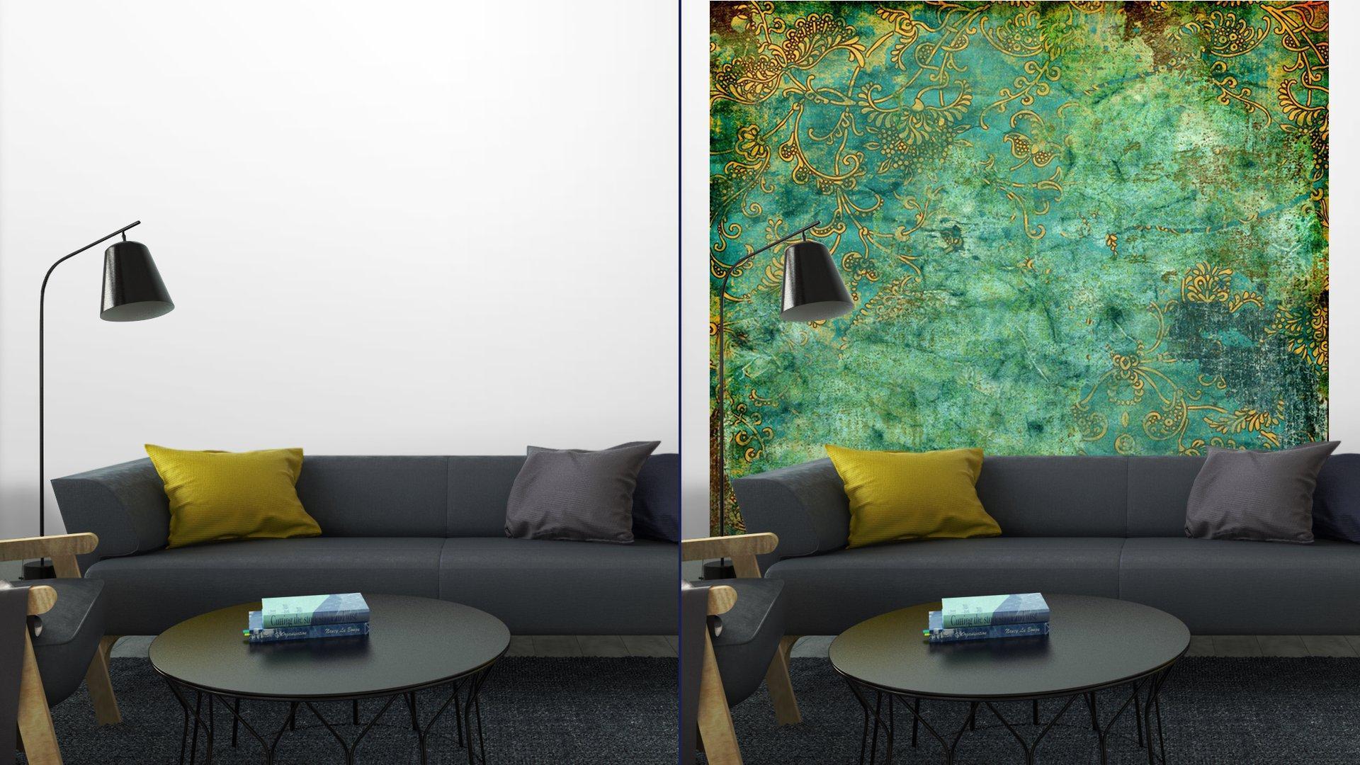 VERDE TEXTURA VENDIMIA OXIDADA7 - Fotomural Tapiz Verde con Textura Oxidada