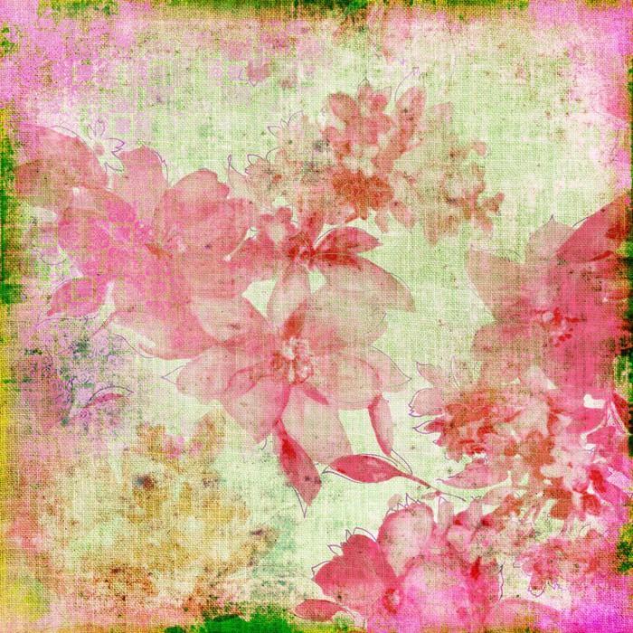 VINTAGE PAPER FLORAL ROSA - Fotomural Tapiz Floral Color Rosa 01