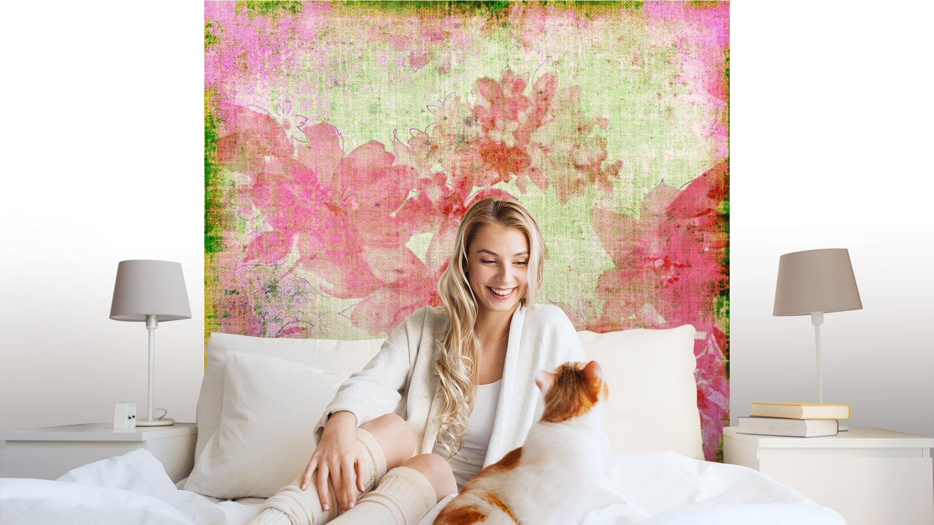 VINTAGE PAPER FLORAL ROSA1 - Fotomural Tapiz Floral Color Rosa 01