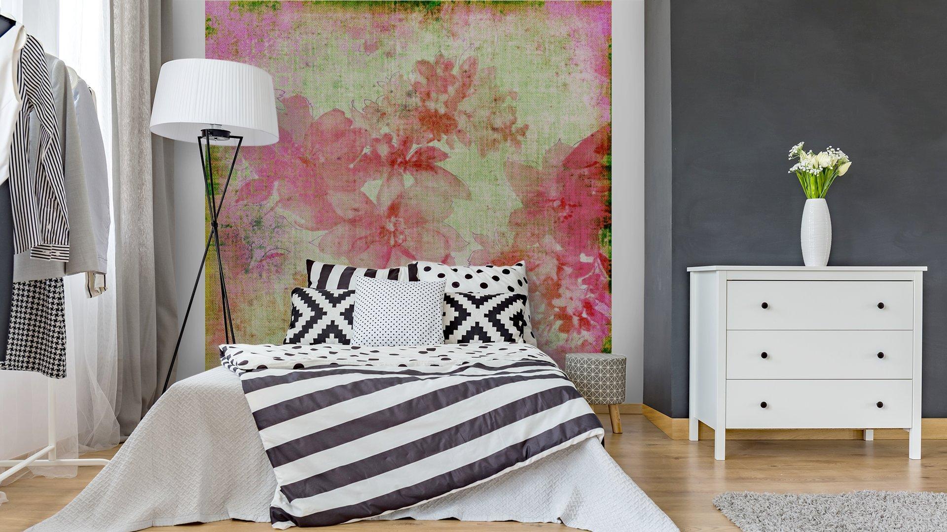 VINTAGE PAPER FLORAL ROSA2 - Fotomural Tapiz Floral Color Rosa 01