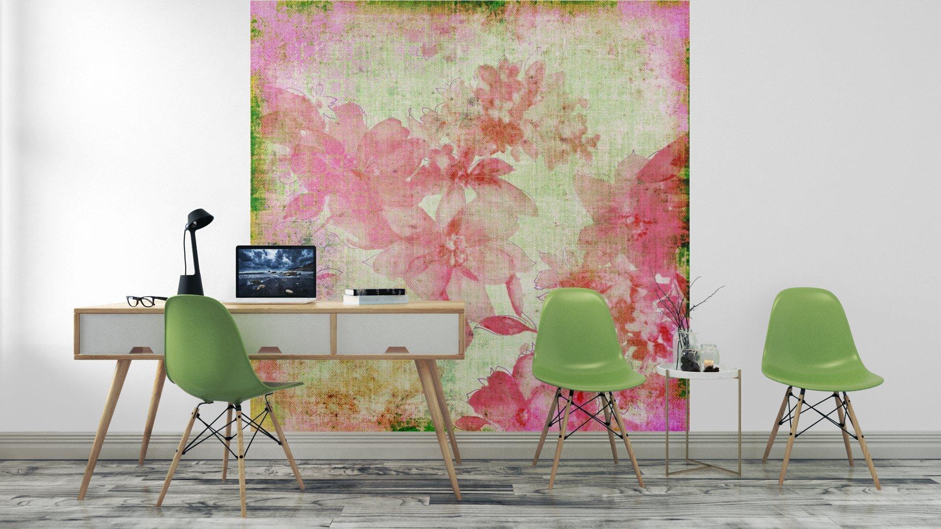 VINTAGE PAPER FLORAL ROSA3 - Fotomural Tapiz Floral Color Rosa 01