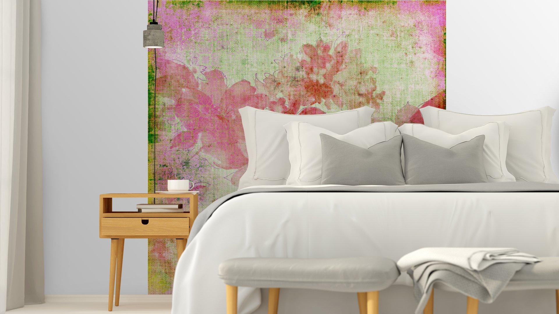 VINTAGE PAPER FLORAL ROSA4 - Fotomural Tapiz Floral Color Rosa 01