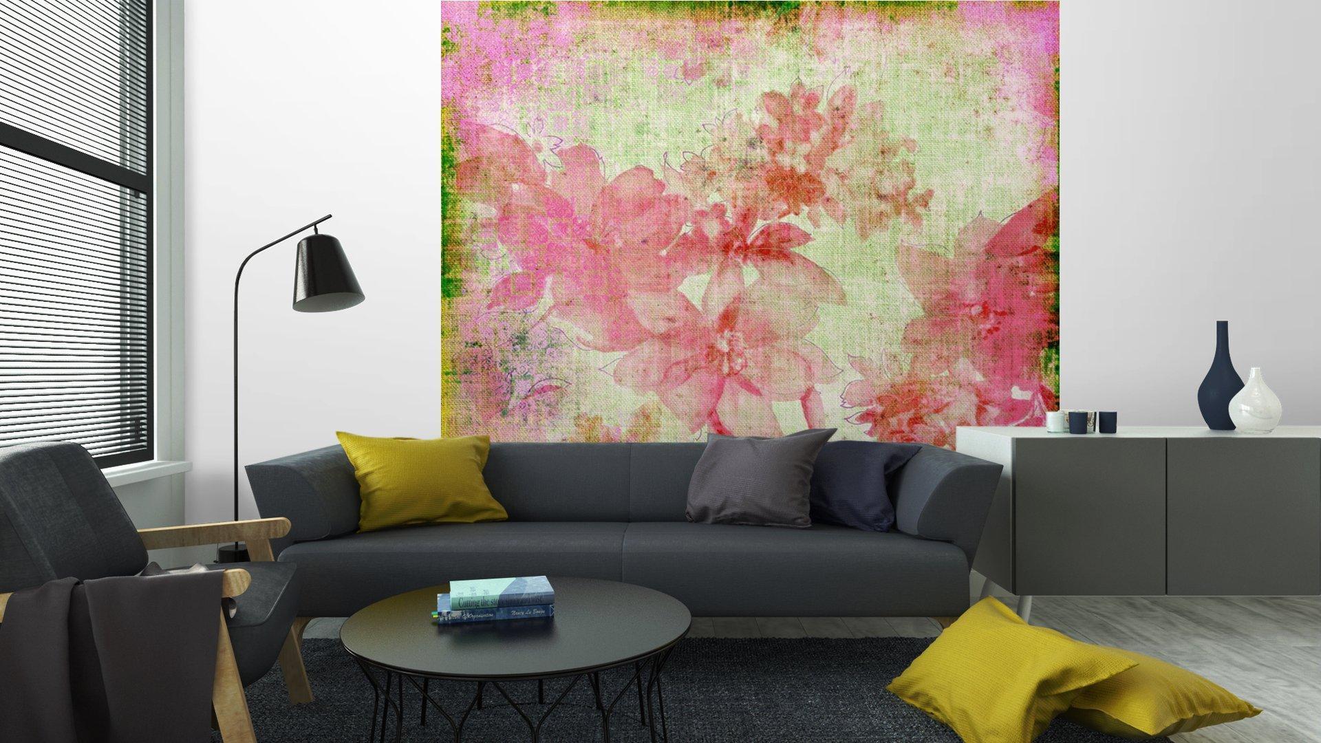 VINTAGE PAPER FLORAL ROSA5 - Fotomural Tapiz Floral Color Rosa 01