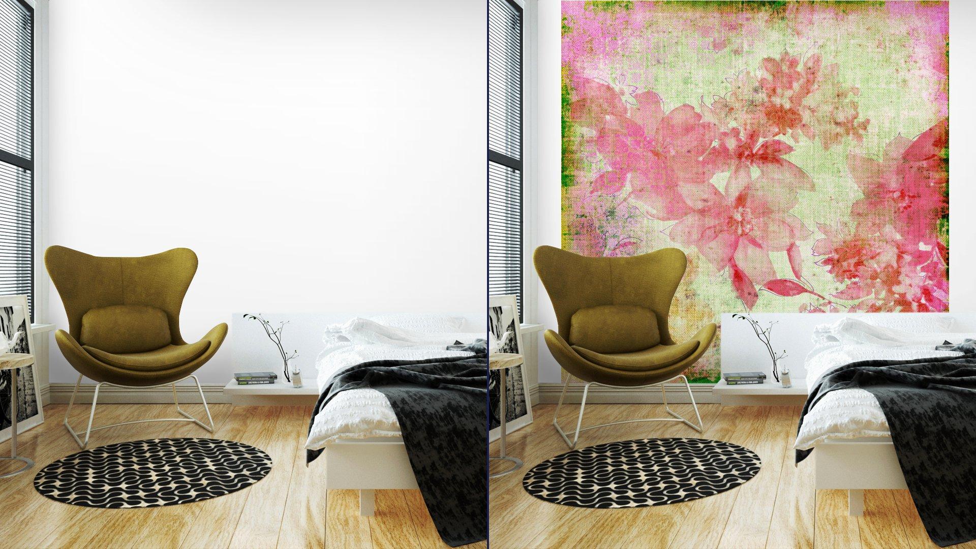 VINTAGE PAPER FLORAL ROSA6 - Fotomural Tapiz Floral Color Rosa 01
